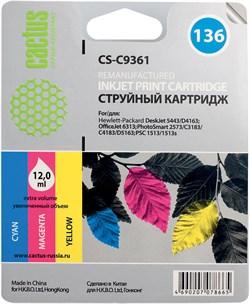 Струйный картридж Cactus CS-C9361 (HP 136) цветной для HP DeskJet 5400, 5440, D4160, D4163; OfficeJet 6310, 6315; PhotoSmart 2575, 7850, C3110, C3125, C3140, C3170, C3190, C4110, C4140, C4150, C4170, C4190; PSC 1503, 1510, 1513 (12 мл.) - фото 5559