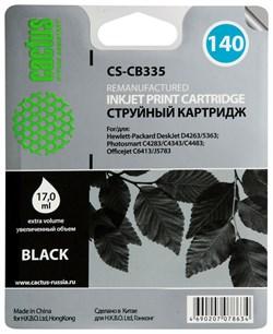 Струйный картридж Cactus CS-CB335 (HP 140) черный для HP DeskJet D4263, D4363; OfficeJet J5783, J6413; PhotoSmart C4200, C4225, C4240, C4250, C4270, C4280, C4343, C4380, C4473, C4483, C4583, C5200, C5280, D5300, D5360 (17 мл.) - фото 5579
