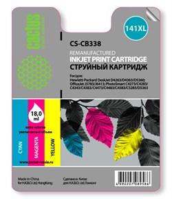 Струйный картридж Cactus CS-CB338 (HP 141XL) цветной увеличенной емкости для HP DeskJet D4263, D4363; OfficeJet J5783, J6413; PhotoSmart C4200, C4225, C4250, C4270, C4343, C4380, C4473, C4483, C4583, C5200, C5280, D5300 (18 мл.) - фото 5818