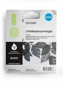 Струйный картридж Cactus CS-CC641 (HP 121XL) черный увеличенной емкости для HP DeskJet D1663, D2500, D2563, D2663, D5563, F2423, F2483, F2493, F4213, F4275, F4280, F4283, F4583; ENVY 110; PhotoSmart C4683, C4783 (18 мл.) - фото 5822