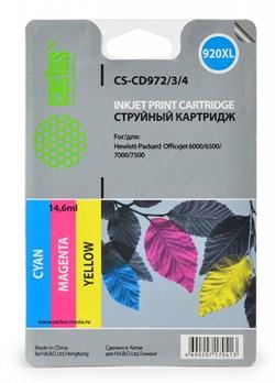 Струйный картридж Cactus CS-CD972 (HP 920XL) голубой увеличенной емкости для HP OfficeJet 6000 Pro, 6500, 6500a, 7000, 7500, 7500a (e910a) (11 мл.) - фото 5838