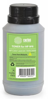 Тонер для принтера Cactus CS-THP6Y-90 желтый (флакон 90 гр.) для картриджаHP Q6002A и его аналога Cactus CS-Q6002A - фото 5963