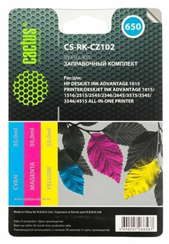 Заправочный набор Cactus CS-RK-CZ102 многоцветный для HP DeskJet 2515,DeskJet 3515; Ink Advantage 1015, 4515 eAiO (3*30ml) - фото 6388