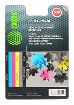 Перезаправляемый картридж Cactus CS-R-CAN520 голубой, пурпурный, желтый, черный, серый, фото черный Canon PIXMA MP540, MP550, MP620, MP630, MP640 (19ml + 5x9,2ml) - фото 6481