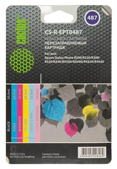 Картридж струйный Cactus CS-R-EPT0487 черный, голубой, пурпурный, желтый, светло-голубой, светло-пурпурный набор карт. для Epson SеPh R200, R220, R300 (20мл) - фото 6484