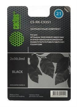 Заправочный набор Cactus CS-RK-C9351 черный для HP DeskJet 3920, 3940, D1360, D1460, D1470, D1560, D2330 (2*30ml) - фото 6504
