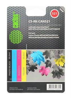Заправка для ПЗК Cactus CS-RK-CAN521 цветной Canon PIXMA MP540 (4*30ml) - фото 6519