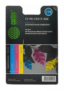 Заправочный набор Cactus CS-RK-CB317-320 многоцветный для HP PhotoSmart B8553, C5383, C6383, D5463, 5510 (4*30ml) - фото 6526