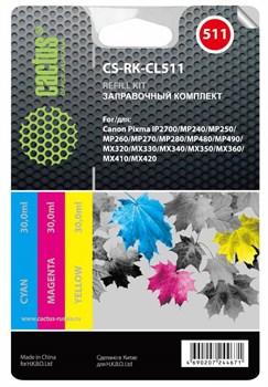 Заправка для ПЗК Cactus CS-RK-CL511 цветной Canon MP240, MP250, MP260, MP270 (3*30ml) - фото 6549