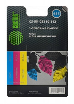 Заправочный набор Cactus CS-RK-CZ110-112 многоцветный для HP DeskJet IA 3525, 5525, 4515, 4525 (3*30 мл.) - фото 6560