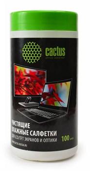 Салфетки Cactus CS-T1001 для экранов и оптики туба 100 шт влажных - фото 6666
