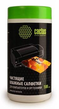 Салфетки Cactus CS-T1002 для компьютеров и оргтехники туба 100 шт влажных - фото 6667