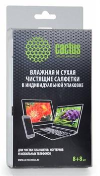 Салфетки Cactus CS-T1004 Сухая+влажная для планшетов, ноутбуков и моб. телефонов, 8+8 шт - фото 6677