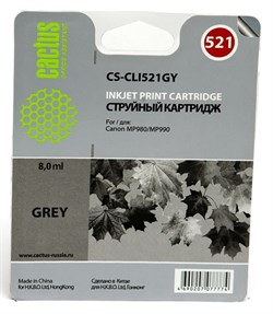 Струйный картридж Cactus CS-CLI521GY (CLI-521GY) серый для Canon Pixma MP980, MP990, MX860 (8,4 мл) - фото 6809