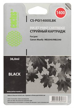 Струйный картридж Cactus CS-PGI1400XLBK (PGI-1400XL BK) черный для Canon MAXIFY MB2040, MB2140, MB2340, MB2740 (36 мл) - фото 6828