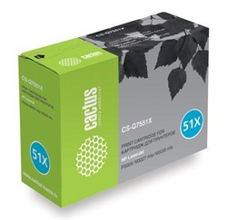 Лазерный картридж Cactus CS-Q7551XS(HP 51X) черный увеличенной емкости для HP LaserJet M3027 MFP, M3027x MFP, M3035 MFP, M3035x MFP, M3035xs MFP, P3005, P3005d, P3005dn, P3005dtn, P3005n, P3005x (13'000 стр.) - фото 7740