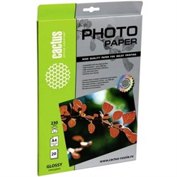 Фотобумага Cactus CS-GA423020E A4, 230г/м2, 20л, белая глянцевая для струйной печати - фото 8470