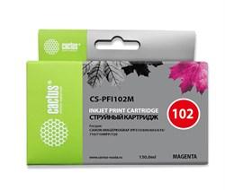 Струйный картридж Cactus CS-PFI102M (PFI-102M) пурпурный для Canon ImagePrograf iPF500, iPF510, iPF510 Plus, iPF600, iPF605, iPF610, iPF650, iPF655, iPF700, iPF710, iPF720, iPF750, iPF760 MFP M40, iPF765, LP17, LP24 (130 мл) - фото 8819