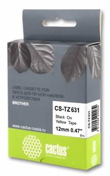 Лента Cactus CS-TZ631 (TZE-631) черный для Brother 1010, 1260VP, 1830VP, 9700PC (12 мм X 8 м) - фото 8840