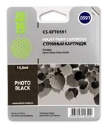 Струйный картридж Cactus CS-EPT0591 (T0591) черный глянцевый для принтеров Epson Stylus Photo R2400 (14,8 мл.)