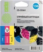 Струйный картридж Cactus CS-C9361 (HP 136) цветной для HP DeskJet 5400, 5440, D4160, D4163; OfficeJet 6310, 6315; PhotoSmart 2575, 7850, C3110, C3125, C3140, C3170, C3190, C4110, C4140, C4150, C4170, C4190; PSC 1503, 1510, 1513 (12 мл.)