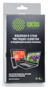 Салфетки Cactus CS-T1004 Сухая+влажная для планшетов, ноутбуков и моб. телефонов, 8+8 шт